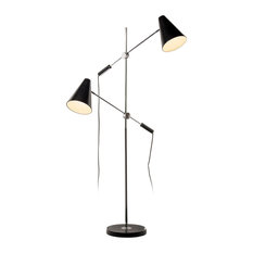 Rexford 2-Light Floor Lamp, Polished Chrome and Matte Black