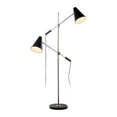 Rexford 2-Light Floor Lamp, Polished Chrome and Matte Black
