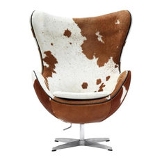 Arne Jacobsen Style Egg Chair, Real Cow Hide