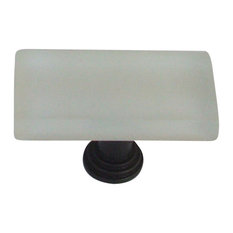 """1""""x2"""" Frosted Glass Knob Oil Rubbed Bronze Base, White"""