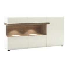 Chelsea Glazed Display Sideboard, White With Oak Trim