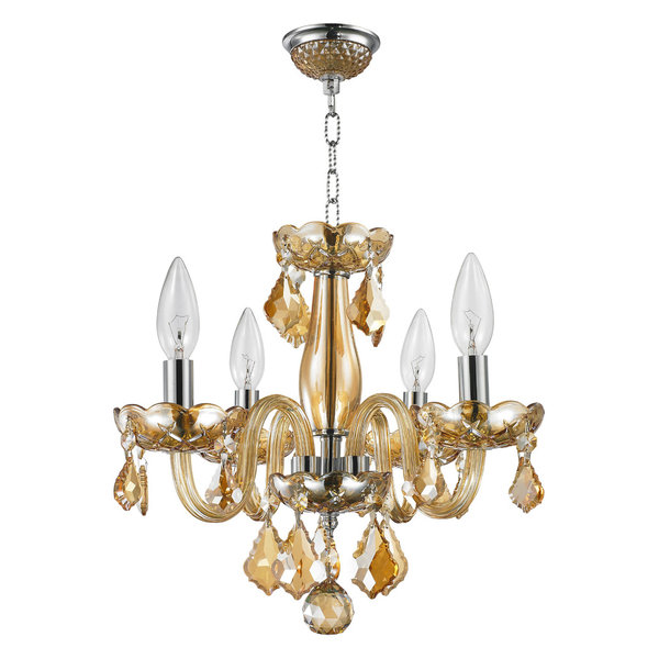 Diana Chandelier, 8 Light, Flemish Brass Finish, Clear Crystal, 23