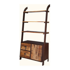 """Industrial Leaning 70"""" Rustic Mango Wood & Iron Open Back Wall Unit"""