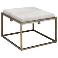 Jamie Young Large Shelby Stool In White Hide 20SHEL-LGWH