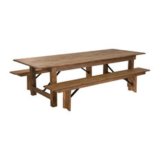 """Flash Furniture 9'X40"""" Farm Table 2 Bench Set In Antique Rustic"""
