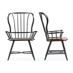 Longford Wood and Metal Vintage Dining Arm Chairs, Set of 2, Walnut Brown, Black