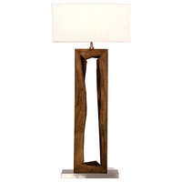 Rica Modern White Shade Carved Brown Wood Stainless Steel Base Floor Lamp