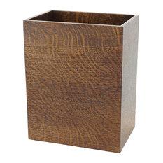 Solid Quartered Oak Rectangle Wastebasket