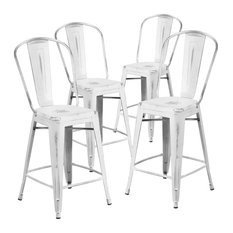 """24"""" High Distressed White Metal Indoor Counter Stools With Back, Set of 4"""