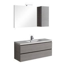 Manhattan Grey Wall-Mounted Bathroom Vanity Unit, Mirror With Shelf, 120 cm