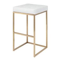 Chi Stool, Seat: White, Frame: Brushed Gold, Bar Height