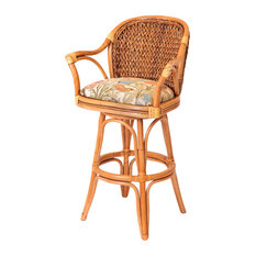 Panama 30-inch Swivel Barstool In Antique Honey With Dum Dum Natural