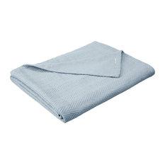 King Metro Soft Cotton Throw Blanket Comfy For All Season, Light Blue