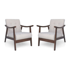 GDF Studio Aurora Mid-Century Modern Accent Chairs, Beige/Brown, Set of 2