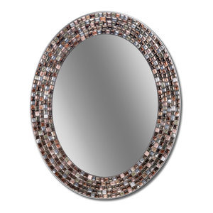 "23""x29"" Frameless Copper Oval Mosaic Wall Mirror"