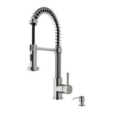 VIGO Industries - VIGO Pull-Out Spray Kitchen Faucet, Stainless Steel, With Soap Dispenser - Kitchen Faucets