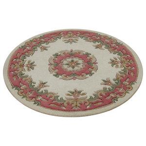 Mahal Round Rug, Cream and Rose Pink, 120 cm Round