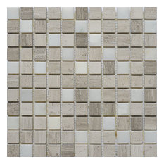 "12""x12"" Marble Mosaic Tile, Soul Collection, Surge, Square, Polished, Set of 5"