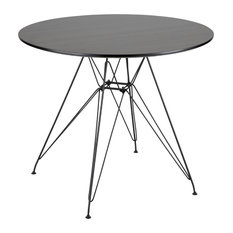 LumiSource Avery Round Dining Table Black And Walnut