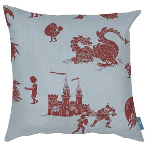 """PaperBoy Interiors """"Ere Be Dragons"""" Cushion, Blue and Red"""