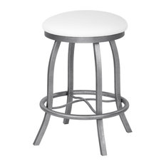 Florence Backless Barstool, Aspen White Faux Leather and Silver Bisque, 26""