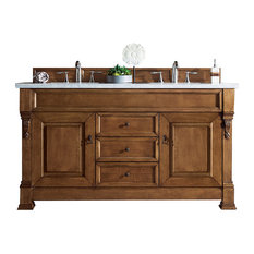 "Brookfield 60"" Country Oak Double Vanity 2CM Carrara White Marble Top"