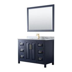 Daria 48-inch Dark Blue Single Vanity Carrara Marble Top Square Sink 46-inch Mirror