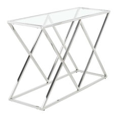 Ikonic Rhombus Iron Console Table With Glass Top