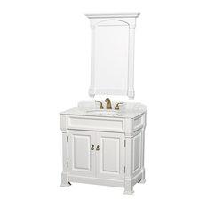"Andover 36"" Bathroom Vanity 28"" Mirror, White, White Marble Top"