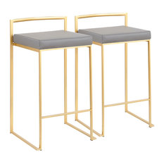 Fuji Contemporary Counter Stool, Set of 2, Gold With Gray Faux Leather