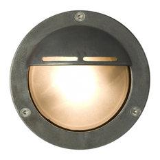 Miniature Outdoor Eyelid Bulkhead Light, Weathered Brass, G9 Fitting