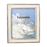 Classic-Style Wood Effect Photo Frame, White and Gold, 20x25 cm