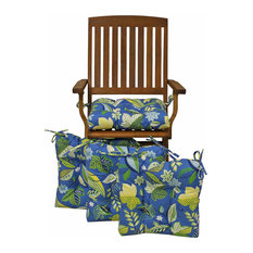 """16"""" Outdoor Spun Polyseter Square Tufted Chair Cushions, Set of 4, Blue"""