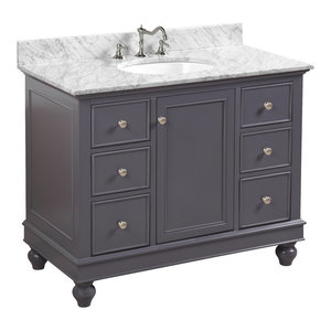 "Bella Bath Vanity, Base: Charcoal Gray, 42"", Top: Carrara Marble"