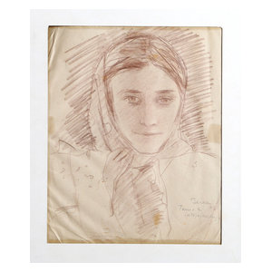 """Dimitrie Berea """"Portrait Of A Girl With Scarf, 17"""" Pencil Drawing"""