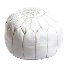 Moroccan Leather Pouf, White
