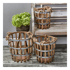 Sagebrook Home Bamboo/Metal Baskets, Set of 3