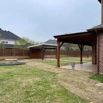 Garland, TX detached covered patio (cabana) and shade pergola addition