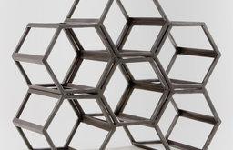 Contemporary Black Hexagonal Wine Rack