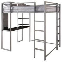 Modern Full Size Loft Bed, Metal Frame, Desk, Shelves, 2 Ladders, Silver