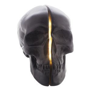 Ceramic Yorick Skull Lamp, Black
