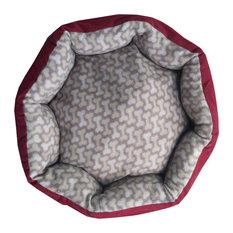 Burgundy Pet Bed 20x20 Gray Dog Bones Puppy Floor Pillow