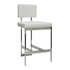 Baylor Modern Counter Stool With White Vinyl Cushion Nickel