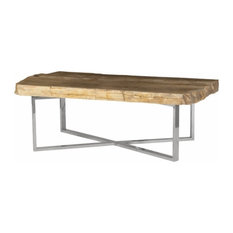 52-inchW Coffee Table Rustic Petrified Wood Stainless Steel Base