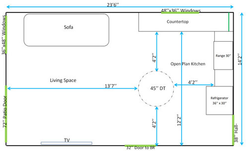 Need Help On Open Plan Layout 24x14 Dt Size Lighting Flooring
