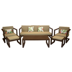 Outdoor 4-Piece Alhama Furniture Set With 3-Seater Sofa, Bronze