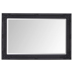 Modern Wall Mounted Mirror With Ornate Frame, Antique Black