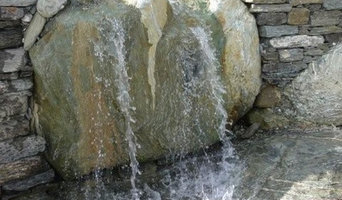 Water drop feature, single bolder, flows to pond