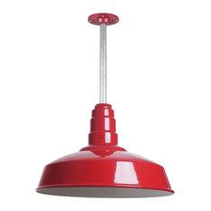 "Barn Lighting 16"" Pendant With Rigid Stem, Red"