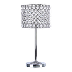 """21.5"""" Chrome Table Lamp With Metal Crystal Shade"""